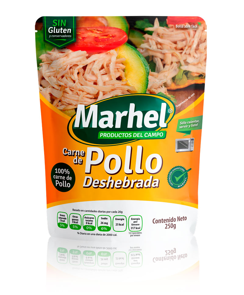 Carne de Pollo deshebrada con Marhel
